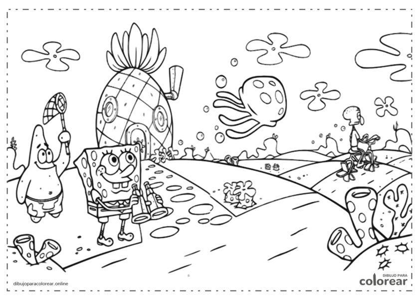 Bob Esponja, Patricio y Calamardo caminando sobre el fondo del mar