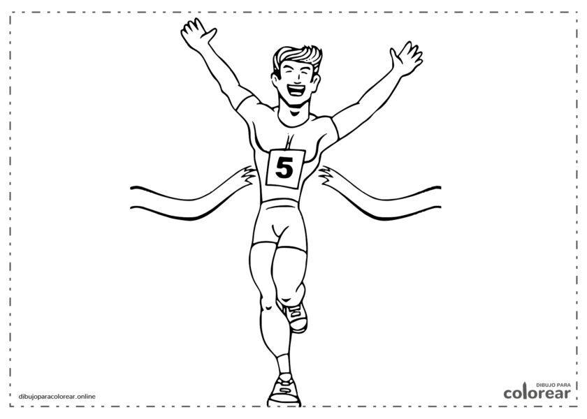 Atleta cruzando la línea de llegada (meta)