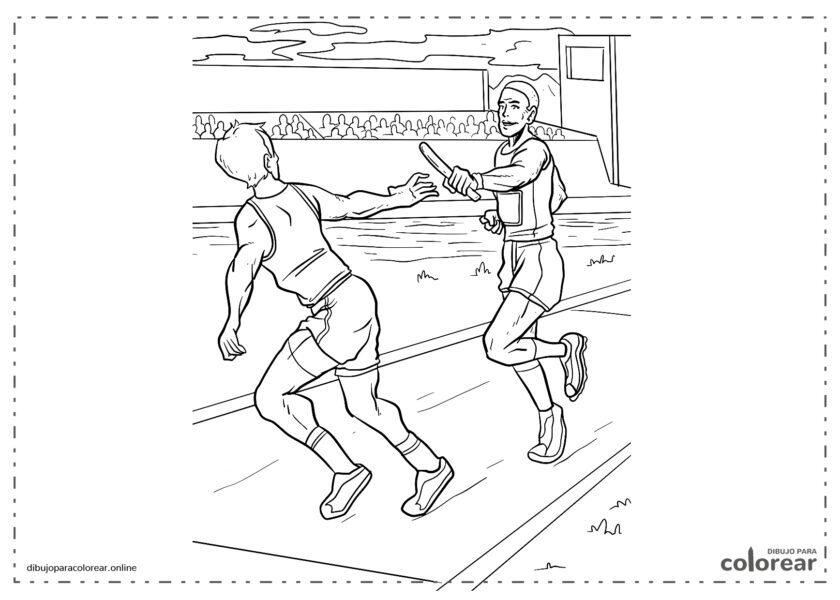 Atletas intercambiándose el testigo en una carrera de relevos