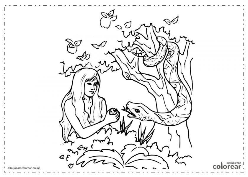 Eva con la serpiente y la manzana (tentación)