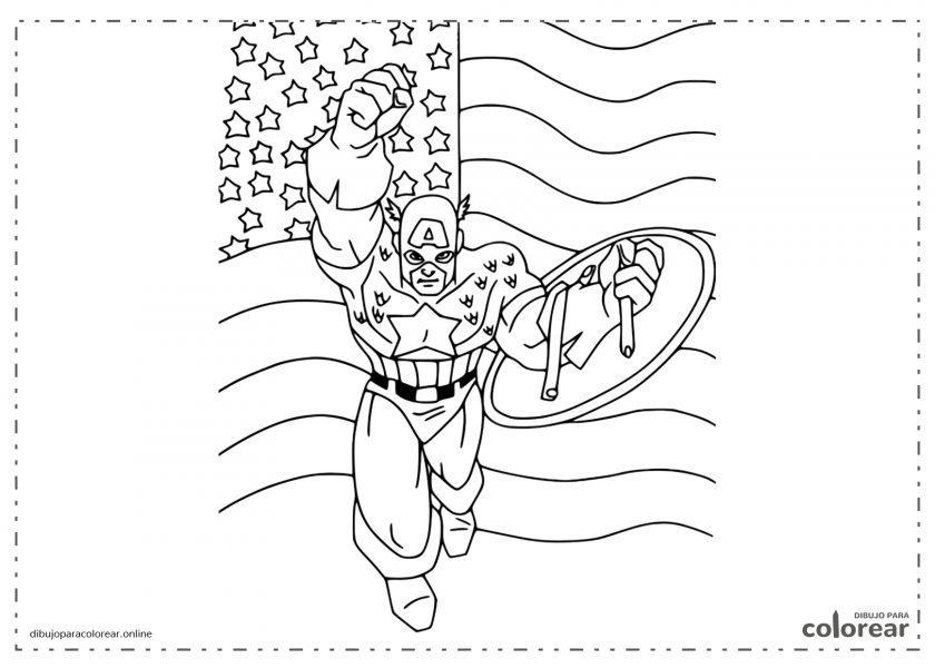 Capitán América sobre la bandera de los Estados Unidos