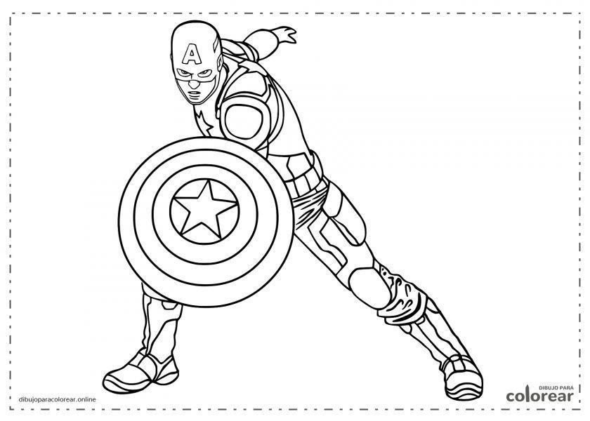 Capitán América con escudo en posición de ataque