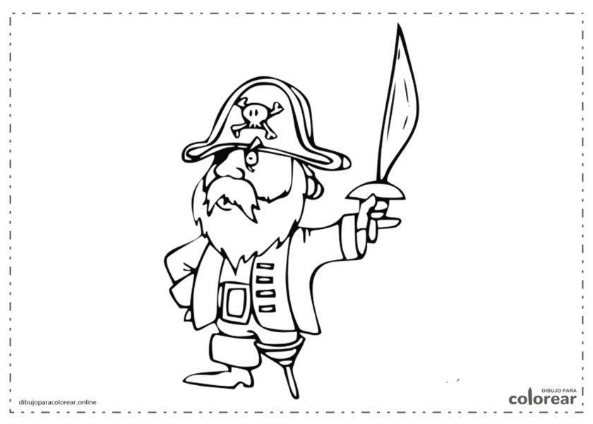 Capitán Pirata con su espada desenvainada