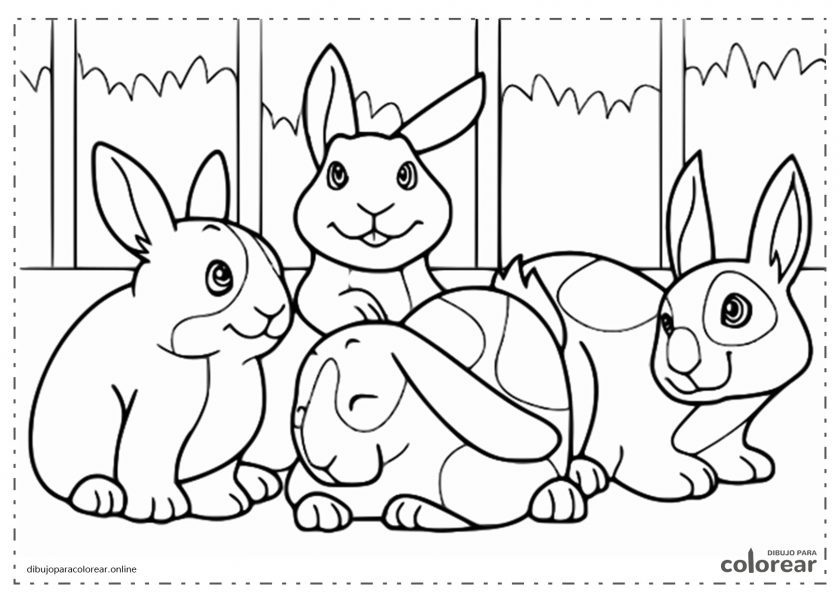 Grupo de conejos tiernos