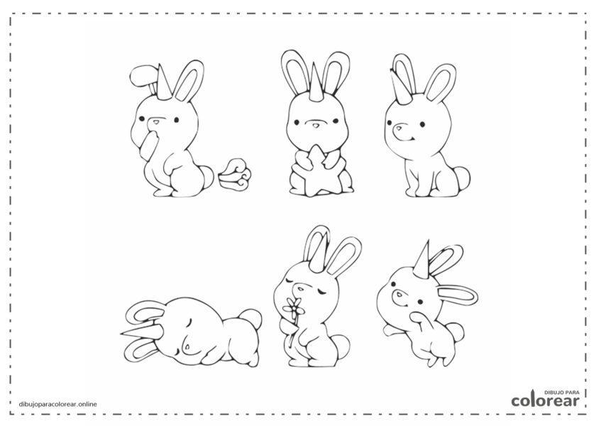 Conejos y unicornio kawaiis