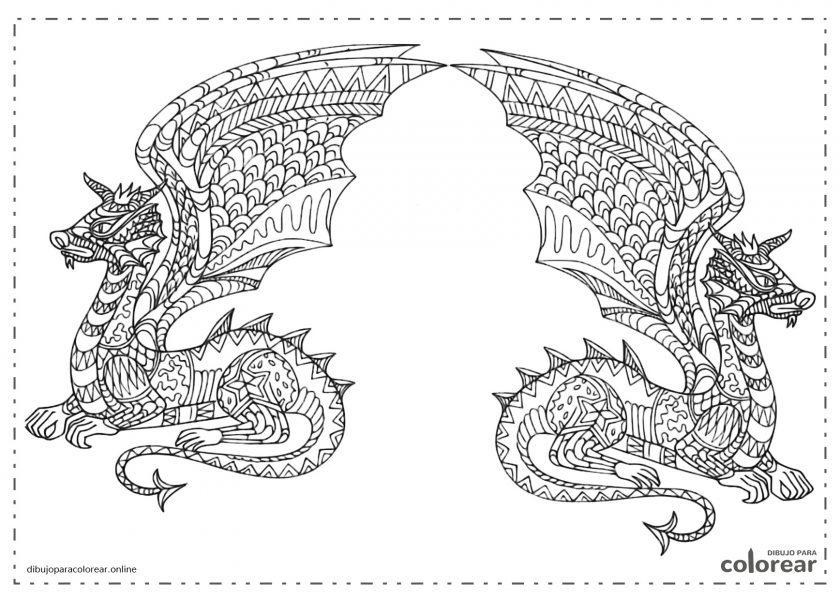Dragones difíciles de colorear para adultos