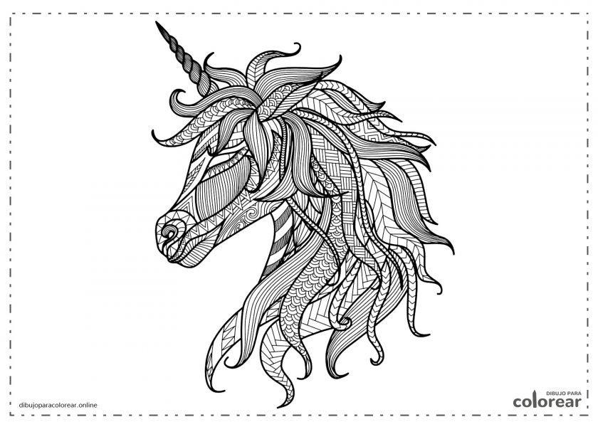 Unicornio difícil de colorear pensado para adultos
