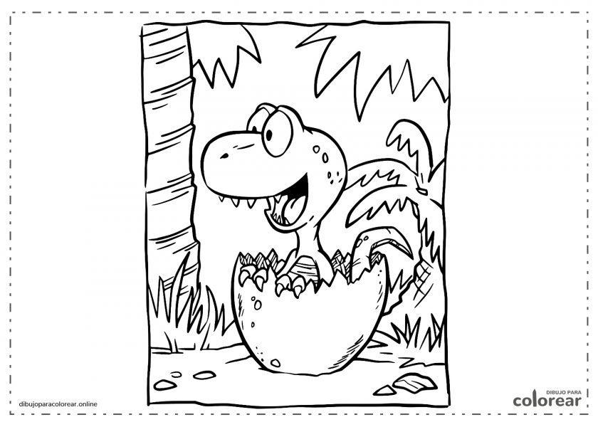 Bebé dinosaurio saliendo del huevo