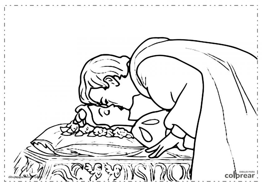 El príncipe dando un beso para despertar a Blancanieves del envenenamiento por la manzana