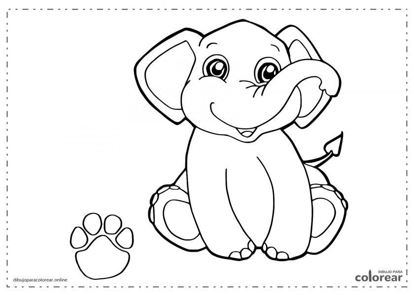 Elefante gracioso con su huella