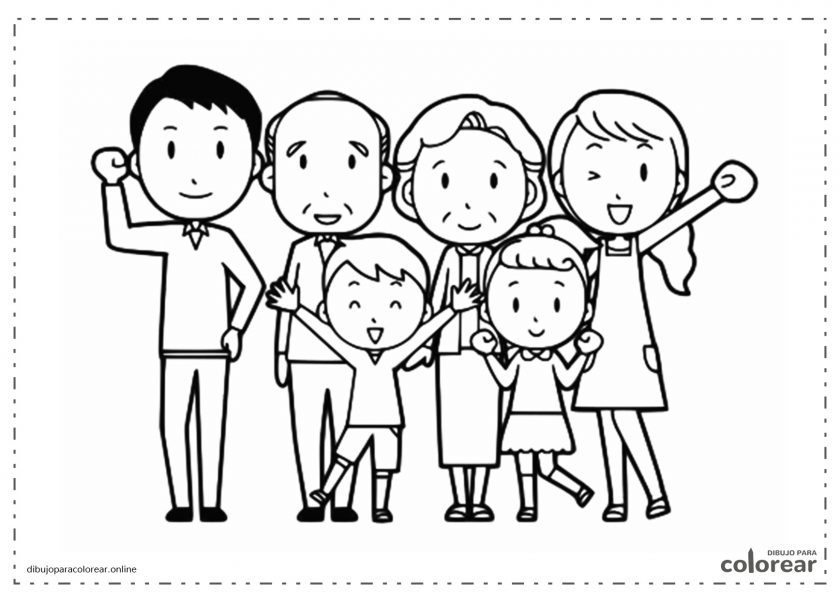 Familia completa formada por abuelos, padres y niños