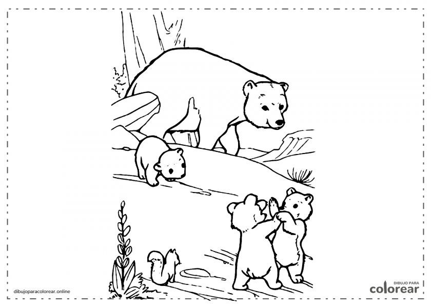 Familia de osos en libertad con dos ositos jugando