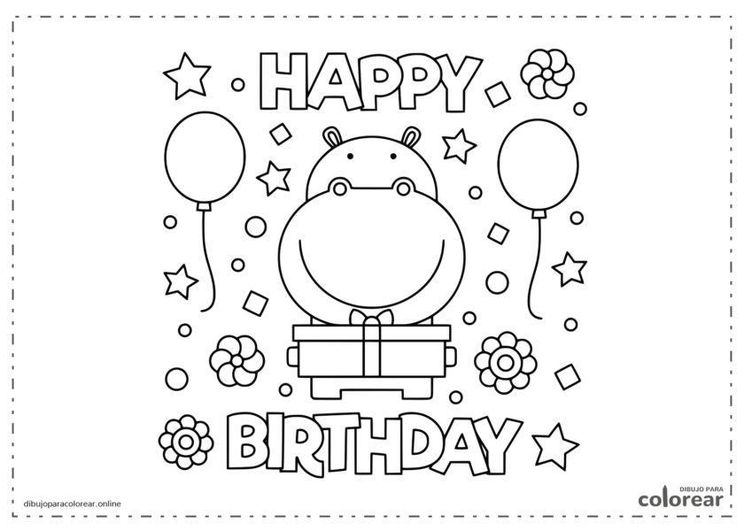 Hipopótamo con regalo de cumpleaños