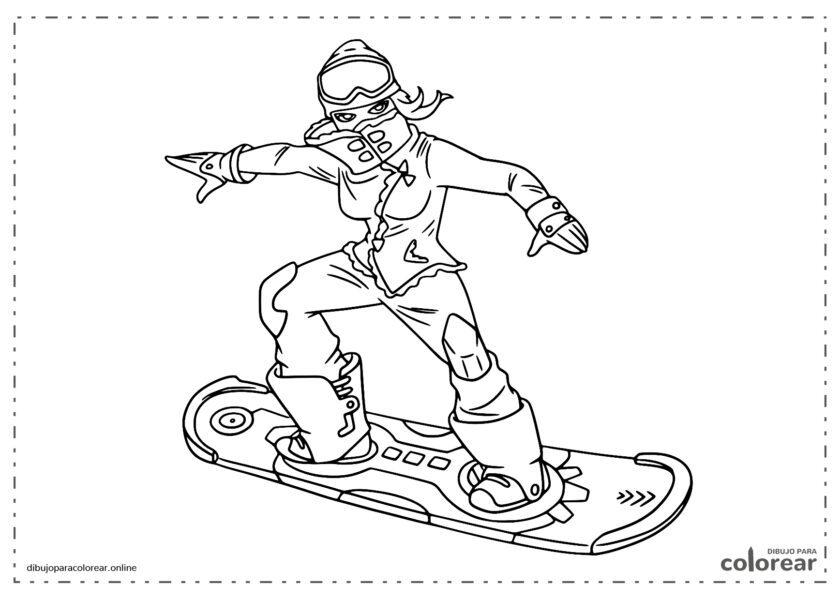 Chica en snowboard de Fornite Battle Royale