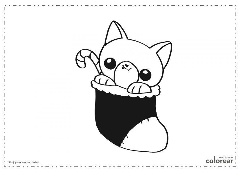 Gato dentro de calcetín de Navidad Kawaii