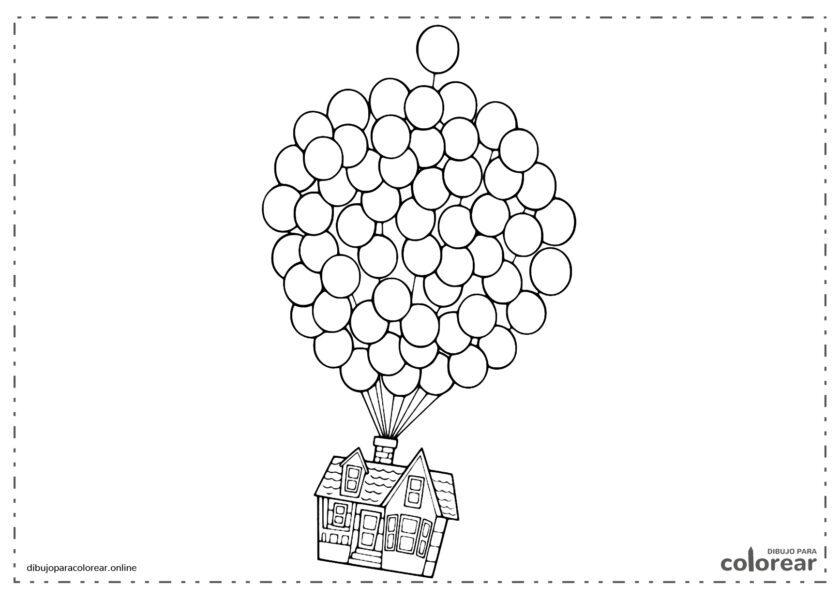 Globos elevando la casa de Up (película de Disney)