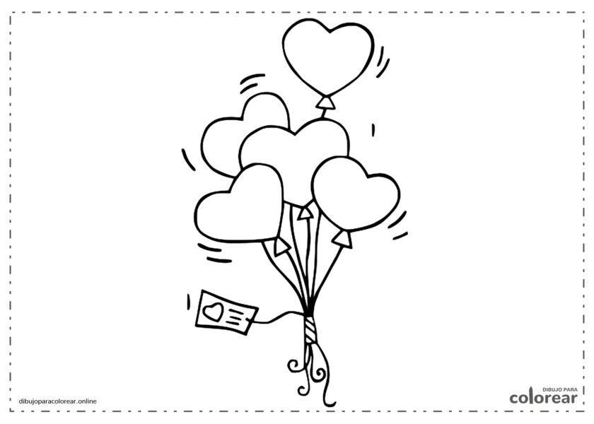 Puñado de globos con forma de corazón