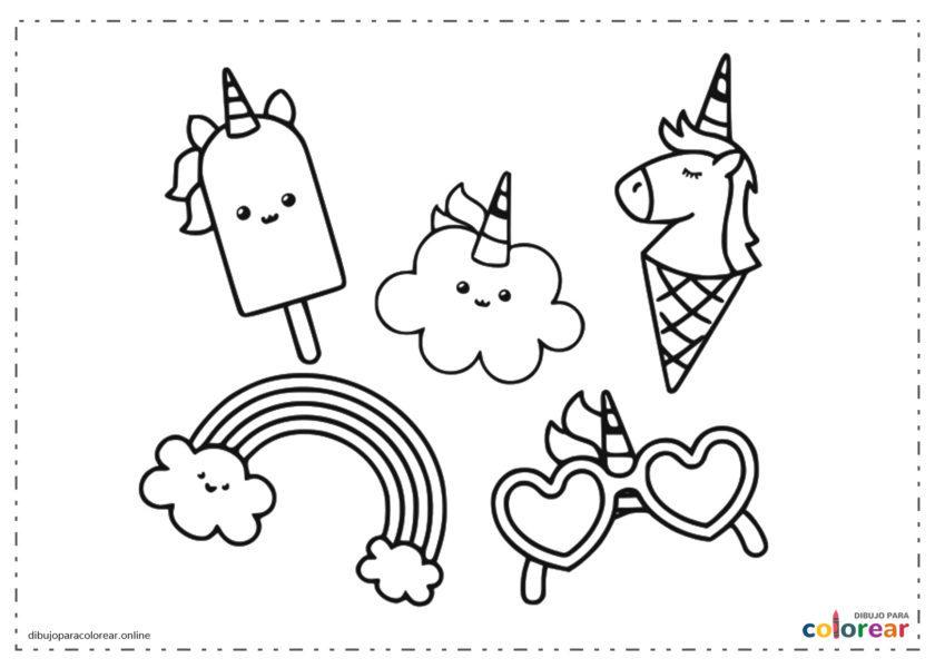 Helados, nube y gafas de unicornios