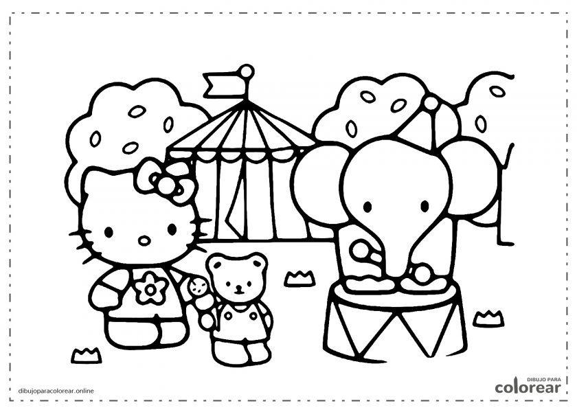Helloy Kitty junto a un elefante de zoo