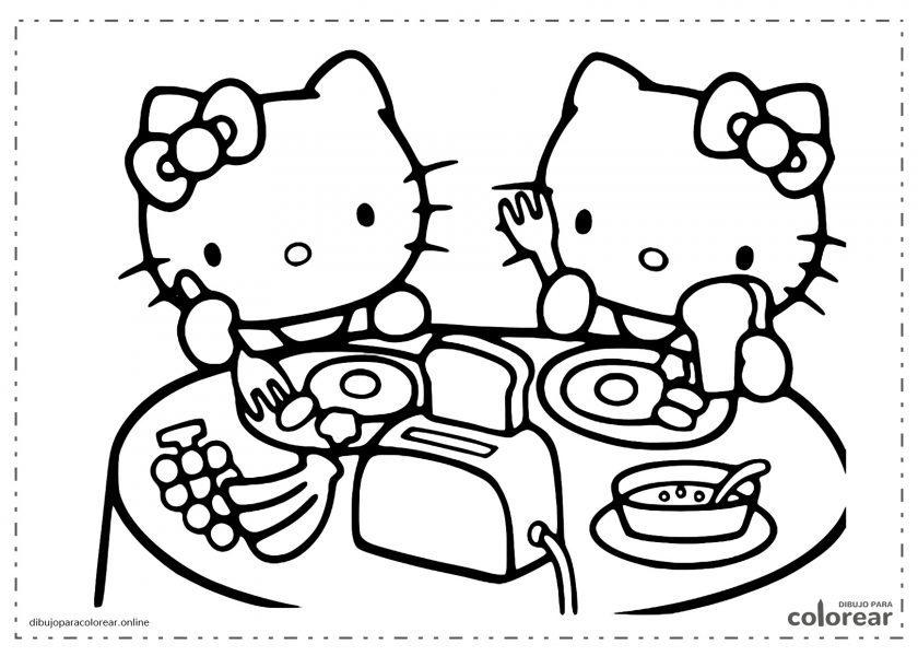 Helloy Kitty a la mesa comiendo