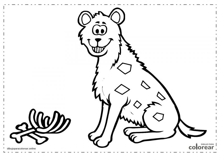 Hiena sonriente después de comer carne