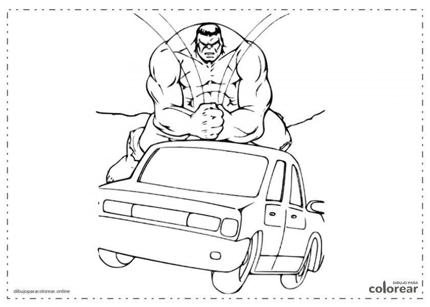 Hulk golpeando un coche