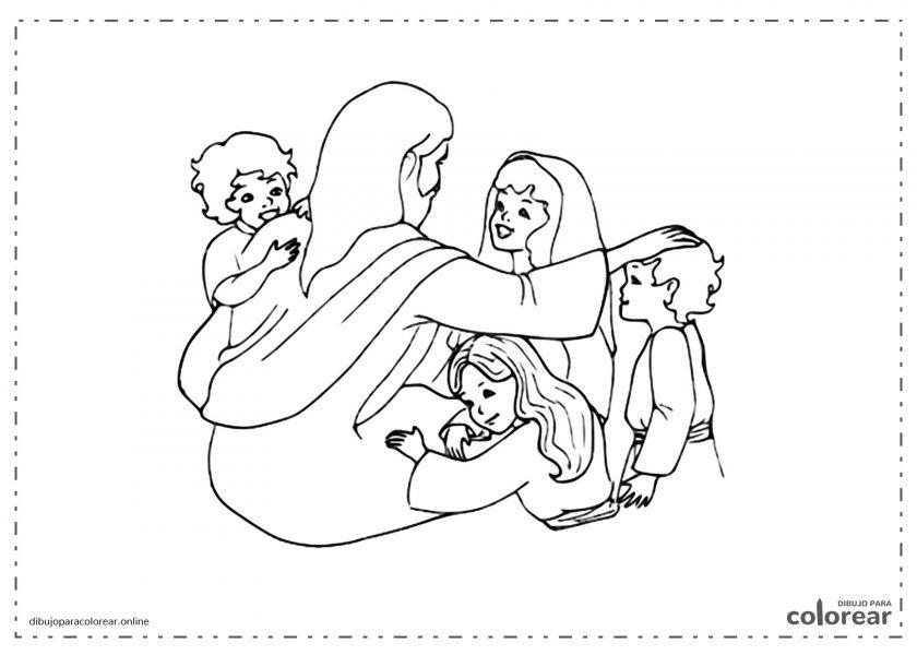 Jesús dando un abrazo a un grupo de niños