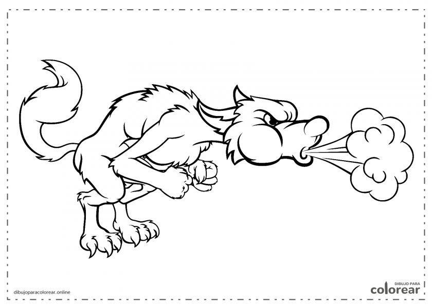 Lobo de Los Tres Cerditos soplando