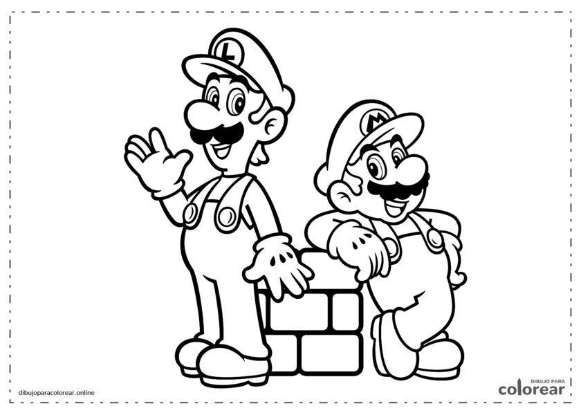 Mario y Luiggi encima de un bloque de ladrillo