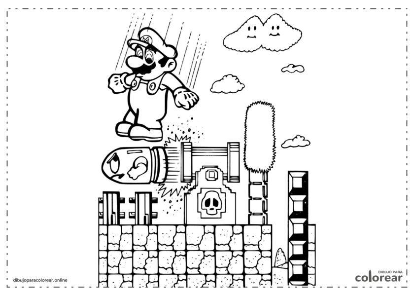 Mario saltando encima de la bala de un cañón