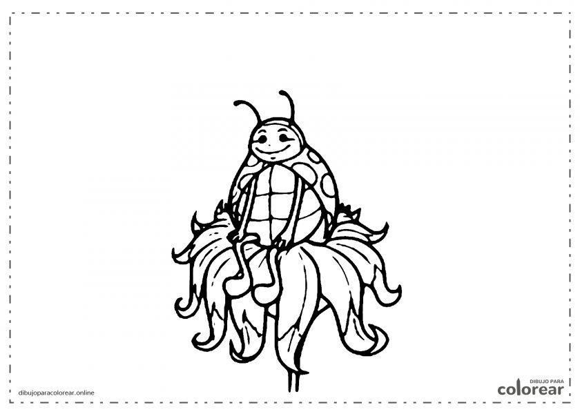Mariquita sentada sobre una flor