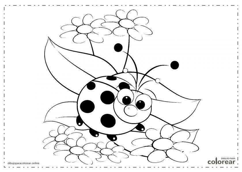 Mariquita volando sobre flores