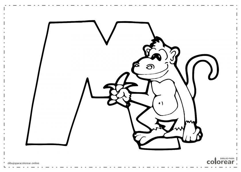 Mono con una banana sobre la letra M
