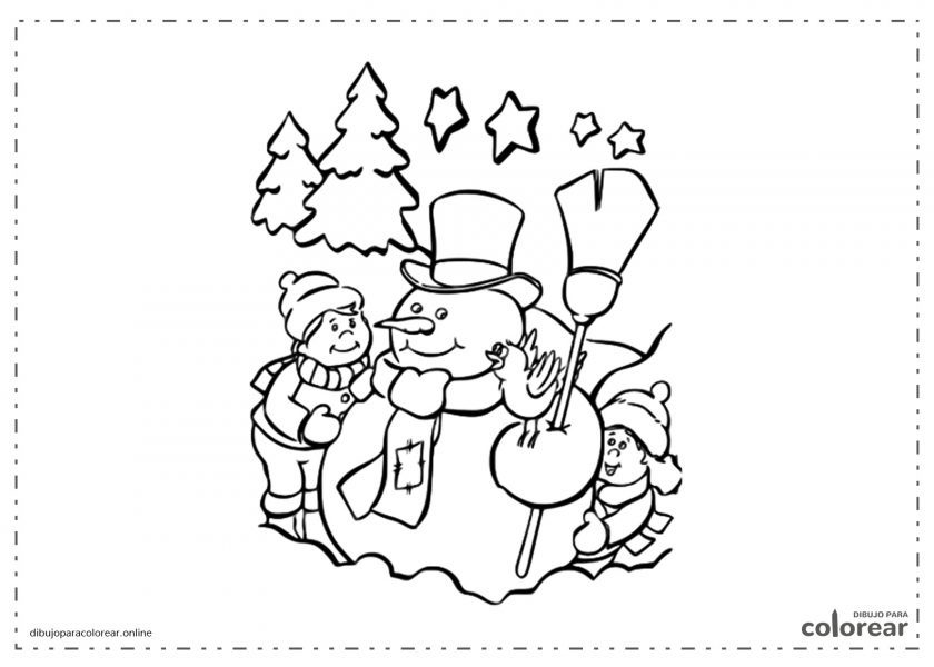 Muñeco de nieve rodeado de niños