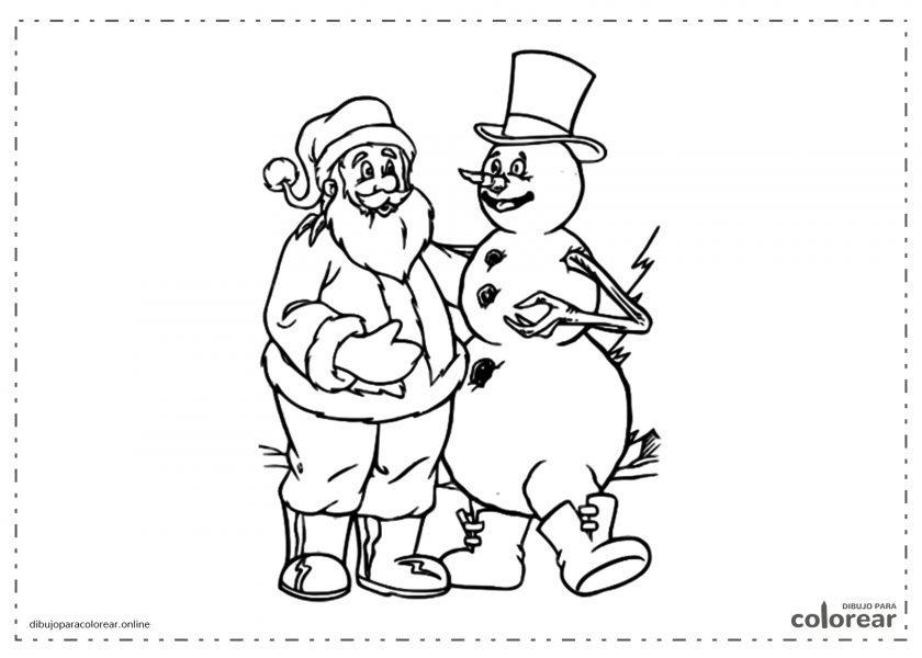 Muñeco de nieve con Papá Noel