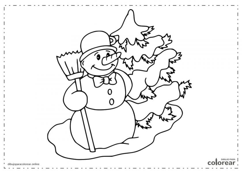 Muñeco de nieve con un pino de Navidad
