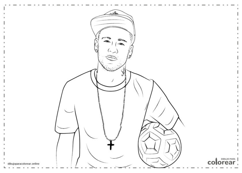 Neymar Jr. con una gorra y un balón de fútbol