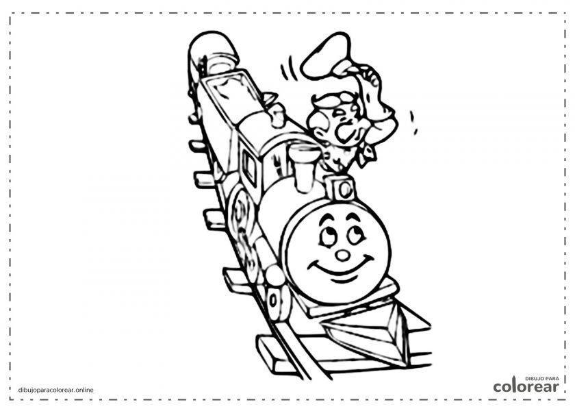 Locomotora de tren con el conductor saludando y moviendo su gorra