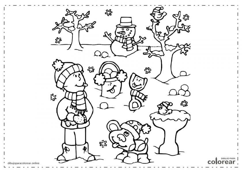 Paisaje de invierno con árboles y un muñeco de nieve