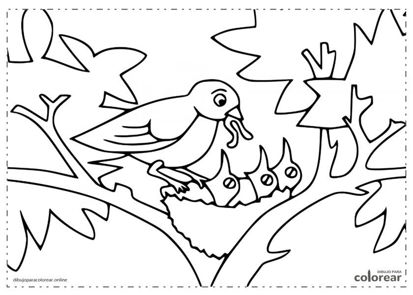 Mamá pájaro alimentando a sus pollitos