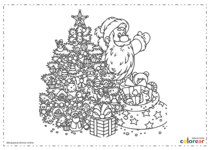 Papá Noel junto al árbol de Navidad