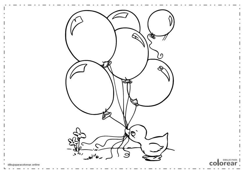 Pato sujetando globos con el pico