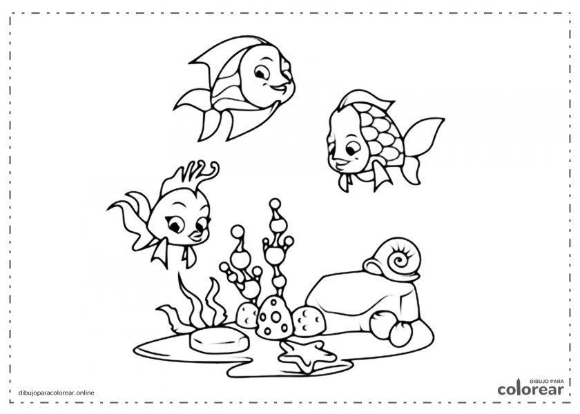 Peces de dibujos animados Disney nadando