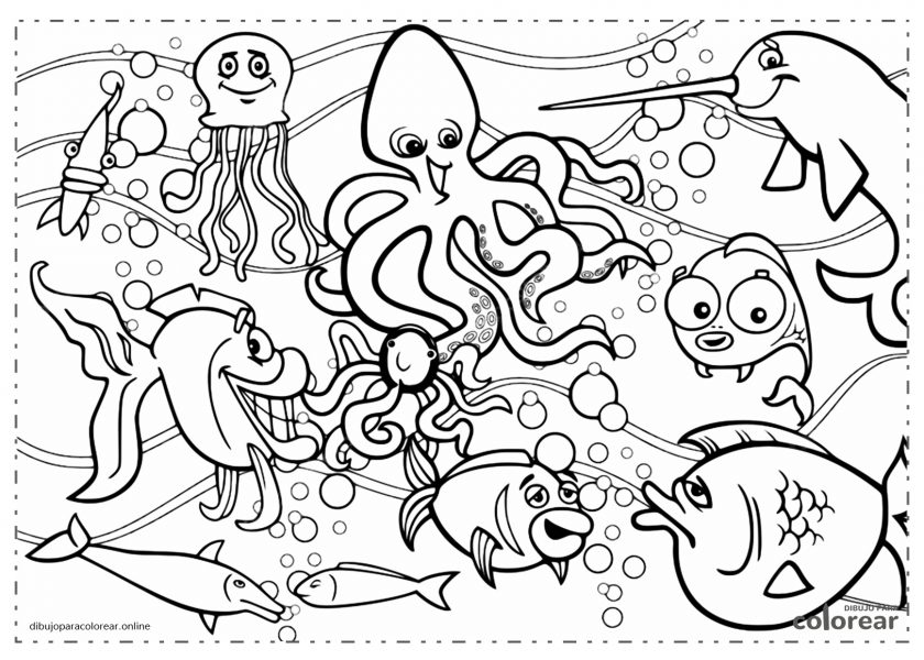 Fondo marino con peces, pulpo y calamares
