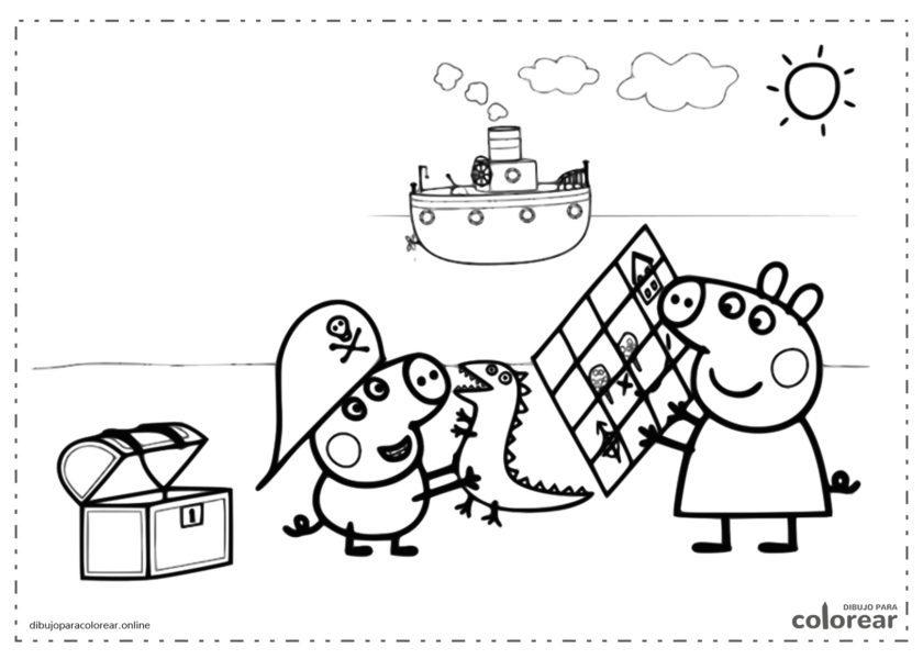 Peppa Pig buscando el tesoro de los piratas