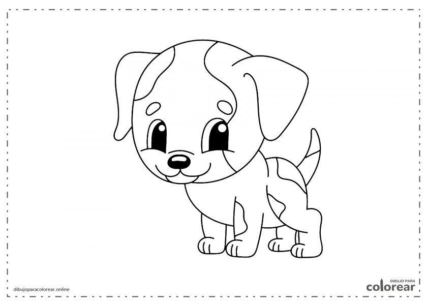 Perro infantil fácil de colorear