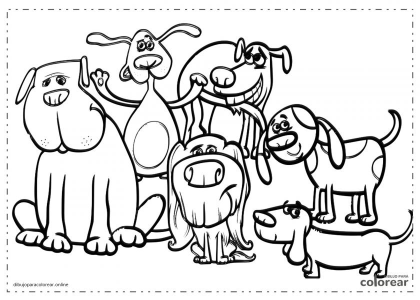 Grupo de perros de dibujos animados