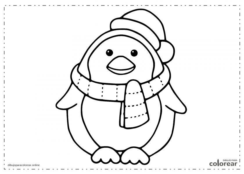 Pingüino gordito con su bufanda y gorro de invierno