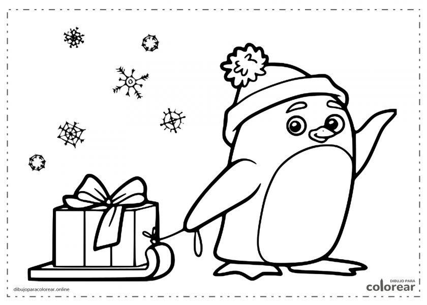 Pingüino tirando de un trineo de invierno con un regalo