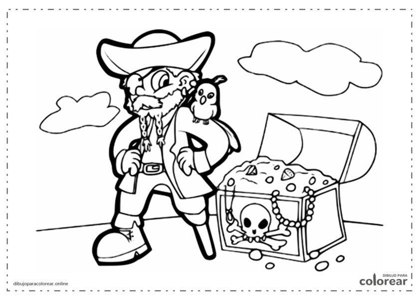 Pirata con el cofre del tesoro
